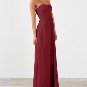 Strapless Bridesmaid Long Formal Dress Wine Size 2